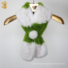Factory wholesale customized size and color knitted rex rabbit fur scarf
