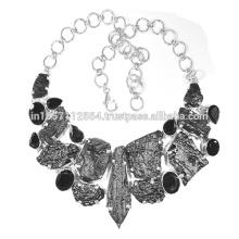 Tektite & Black Onyx Edelstein mit 925 Sterling Silber Handgefertigte Design Halskette Schmuck
