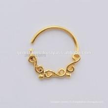 Vente en gros de bijoux en pierres à anneaux en nid de Septum, bijoux à la main