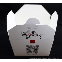 Caja de fideos de cartón con logotipo personalizado blanco con mango de metal