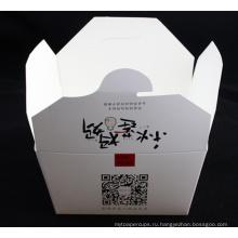 Изготовленная на заказ коробка из белого картона с логотипом лапша с металлической ручкой