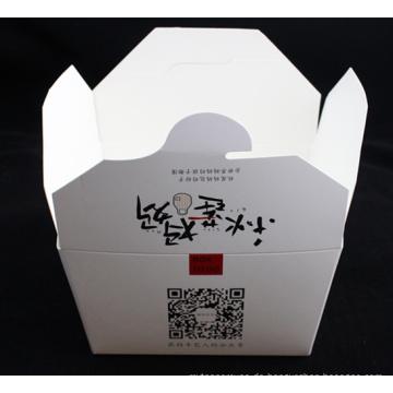 Kundenspezifischer Logo-weißer Pappnudel-Kasten mit Metallgriff