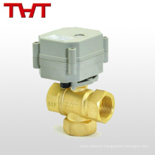 Válvula de bola de latón forjado en caliente de 3 vías accionada eléctricamente