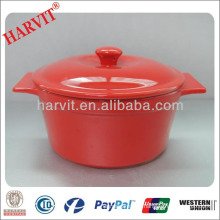 Red Colored Clay Cookware Stock Pots Cooking / New Product Ceramic Thermos Insulated Food Casserole Sets
