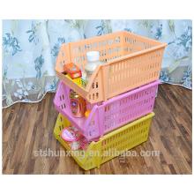 Многоцелевой стекируемые стеллаж для хранения пластиковый ящик корзина для оптовой продажи