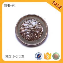 MFB94 Shanks tipo de botón de aleación de zinc, botón de costura de moda logotipo grabado