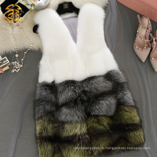 Женщин-меховой жилет Подлинная лисья шерстяная жилетка Real Red Fox Fur Gilet для девочек