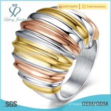 Anéis de aço inoxidável gótico para as mulheres, cores de mistura grandes anéis de prata