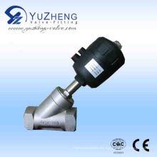 Válvula de asiento de ángulo neumático de acero inoxidable