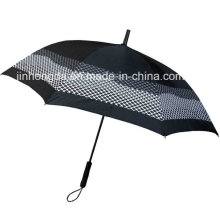 White Mesh Printing Straight Rain and Sun Umbrella (YSC0017)