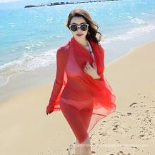Оптовая мода длинным большой размер красный элегантный пляж шарф саронг