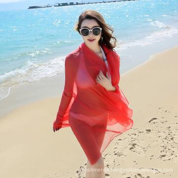 Wholesale Fashion long big size red plain beach scarf sarong