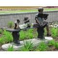 outdoor garden decoration metal children sitting bronze bench sculpture