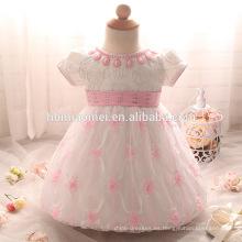 Vestido de niña de encaje rosa, blanco, color rojo vestido de bautismo niño de un año de edad