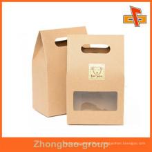 Embalaje de alimentos de impresión Bolsas de papel con ventana para dulces / nueces / Snack, etc