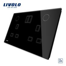 Livolo Black Color New Remote 13A Double UK USB Socket VL-W2C2UKRU-12