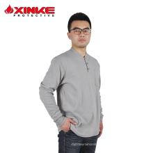 algodão retardante de fogo camisa de malha para o homem de trabalho