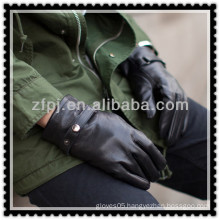 2013 new design man leather black buckle driving glove