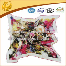 printed square silk satin ladies muffler