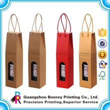 Heißer Verkauf preiswerter überzogener Papierwein-Kasten, der für einzelne Flasche verpackt