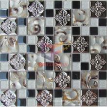 Flower Pattern Metal Mix Silk Backed Crystal Mosaic (CFM862)