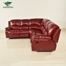 New Design Italy Half Top Grain Leather Modern Corner Living Sofa Set