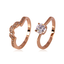 Xuping Rose anillo de oro amante del color con diamantes de imitación