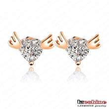 Angel Wing with Heart Zircon Love Stud Earrings (ER0010-C)