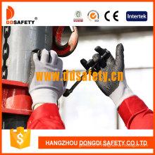 Mini points en nylon enduits de nitrile gris, gants de sécurité de la CE (DNN143)