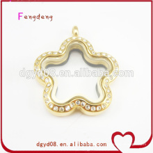 flower shape gold jewelry with crystal