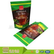 De Buena Calidad Precio bajo laminado Levántese la cremallera Bolsas de té personalizadas reutilizables