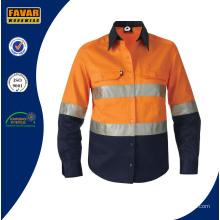 Hi Vis Reflective Upf50+ Long Sleeve Shirt Orange Cotton Safety Workwear Shirt