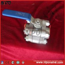 Válvula de bola roscada de acero inoxidable 3-PCS