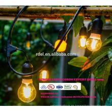 Luces para decoración de patio Iluminación de cadena colgante de 48 pies con 15 tomas sueltas, cable de extensión de 10 pies SLT-176