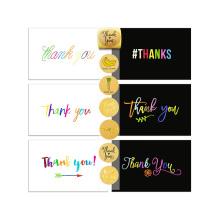 Conjunto de 72 tarjetas de agradecimiento y surtido de adhesivos selladores, 36 tarjetas de agradecimiento blancas y 36 negras, tarjetas de agradecimiento personalizadas