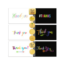 Ensemble de 72 cartes de remerciement et assortiment d'autocollants pour scellant, 36 cartes de remerciement blanches et 36 noires, cartes de remerciement personnalisées