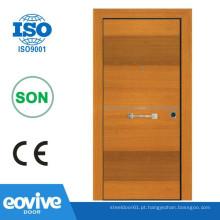 Porta blindada de aço design plano de madeira