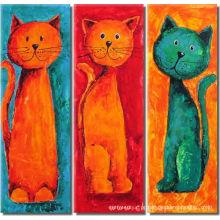 Pintura a óleo decorativa animal do gato