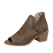 summer 5cm block heel hollow out pu leather retro roman sandals ankle boots for ladies