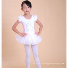 El precio al por mayor de los niños de algodón baila corto dres vestido de ballet blanco para los niños