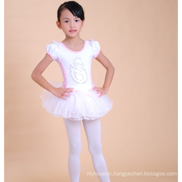 Wholesale price cotton children short ballroom dancing dres white ballet dress for kids