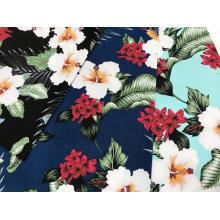 Impressão de flores com tecido elástico de algodão
