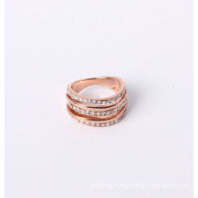 Rose Gold Plated Fashion Jewelry Ring with Rhinestones Good Price