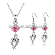 Rhodium plated alloy jewelry necklace and hook earrings set fish pendant crystal jewelry set