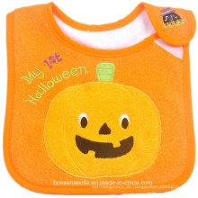 Werbeartikel Baumwolle Frottee Halloween niedlichen Cartoon Kürbis Stickerei Applique Baby Lätzchen