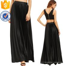 Plissé Flare étage longueur jupe avec fermeture à glissière côté fabrication de mode en gros femmes vêtements (TA3082S)
