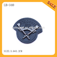 LB340 Custom black brand embossed leather patch with metal for jeans/pants/coat