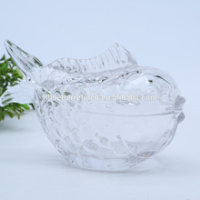 Crystal Glass Fish Shaped Glass Jar für Süßigkeiten / Lebensmittel