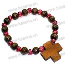 6mm runde hölzerne Perlen eingewickeltes Armband mit hölzernem Kreuz