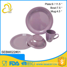 vaisselle en gros forme ronde violet mélamine bambou ensemble de dîner